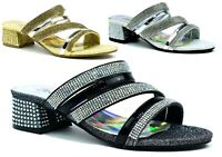 Women Peep Toe Ladies Strappy Ankle Strap Low Mid Block Heel Party Sandals 3-8