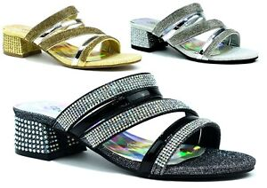 Women Peep Toe Ladies Strappy Ankle Strap Low Mid Block Heel Party Sandals 3-8