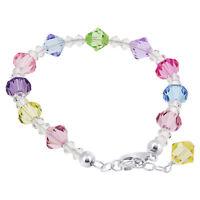 925 Sterling Silver Swarovski Elements New Multi Crystal Bracelet 7 to 8 inch
