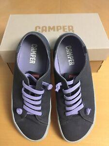 Camper Peu Rambla Women's Cotton Canvas Sneakers Trainers, Dark Grey EU 41 UK 8