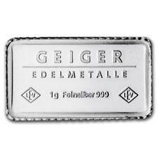 10x Lingot 1g Argent pur 999 / 10x GEIGER Edelmetalle 1 Gram Fine Silver 999 Bar