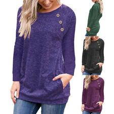 Womens Long Sleeve Tunic T Shirt Casual Loose Pullover Pockets Solid Tops Blouse