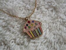 Goldtone Pink Rhinestone CUPCAKE Pendant Necklace (F6)