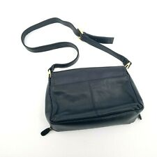 WORTHINGTON Ladies Navy Blue Leather Handbag Gold Hardware Adjustable Strap