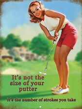 Funny Golf Vintage Retro It's Not The Size Of Your Putter Aluminum Tin Sign 9x12