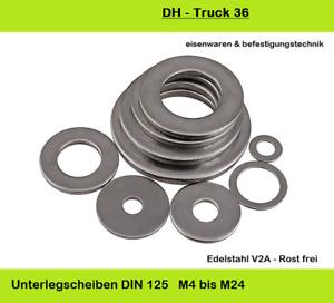 Unterlegscheiben DIN 125 Edelstahl V2A M2   bis  M24  Form-A