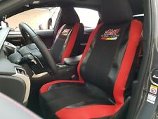 Black Red Seat Cover Full Set Mesh Leather Universal Fit For Honda Civic CRV