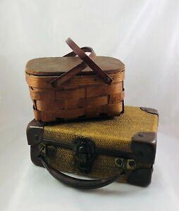 Vintage Dollhouse Furniture Suitcase w/Metal Straps & Woven Wicker Picnic Basket