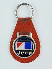Vintage Jeep leather keychain keyring metal back Red