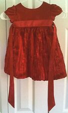 Red Cinderella Dress with Ribbon Embroidered Crinkled Skirt Girl's Size 24 Mos