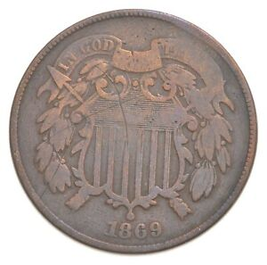 1869 Two-Cent Piece - Charles Coin Collection *609