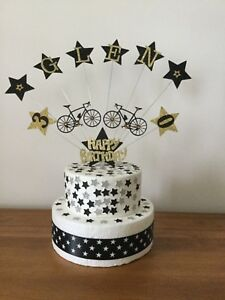 Cake Topper Decoration Bike Birthday Personalised Any age Name And Colours