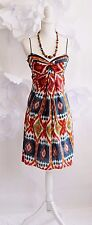 ANTHROPOLOGIE Burning Torch Tie Dye Summer Dress Women's M Silk Orange/Blue/Red