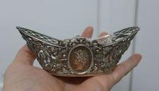 Medallion Cherub Sterling Silver Nut Candy Basket  / Bowl Dish