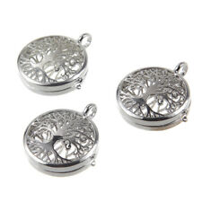 Silver Hollow Tree Of Life Pad Locket Pendant Fragrance Oil Diffuser Necklace