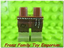 New LEGO Minfiig Olive Green LEGS Brown with Tan Rope Belt Troll Goblin Part