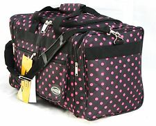 "20"" 40LB. CAP BLACK WITH PINK POLKA DOTS DUFFLE BAG/ GYM BAG / LUGGAGE/ CARRY ON"