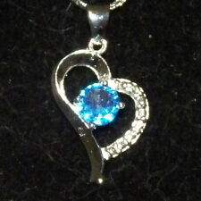 New 925 Sterling Silver & Aquamarine Crystal Heart Pendant Charm with Free Chain