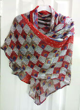 Large Manila Grace Cotton Silk Blend Trapezoid Scarf Red Purple Free Shipping