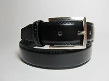 "Men Black Leather Belt with Silver Buckle 38"" #20"