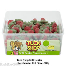 1 FULL TUBS TUCK SHOP SOFT CENTRE STRAWBERRIES 120 PIECES 780g SWEETS FAVOURS