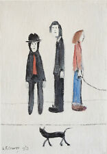 Large Framed LS Lowry Print – Three Men and a Cat (Picture Painting English Art)