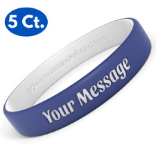 5 Custom Engraved Silicone Wristbands - You Choose Your Own Phrase