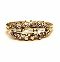 14k yellow gold .52ct baguette round diamond anniversary band ring 3.9g estate