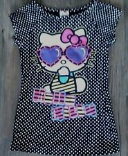 Girls HELLO KITTY Black Capped Sleeve Top age 8 - 9 yrs
