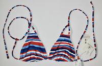 VOLCOM Womens Small Red White Blue Pride Reversible Triangle Bikini Swim Top New