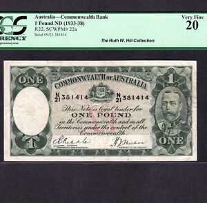 Australia 1 Pound 1933-38 P-22a * PCGS VF 20 * King George *