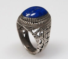 Vintage Royal blue orient Lapis Lazuli solid Silver Ring from Afghanistan No-454