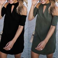 New Women's Summer Casual Short Sleeve Evening Party Beach High Neck Mini Dress