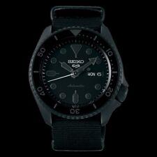 NEW Seiko 5 Sports 100M Men's Watch Stealth ALL BLACK Nylon Strap SRPD79K1