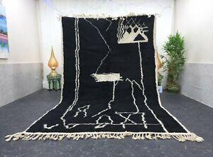 "Moroccan Handmade Beni Ourain Rug 6'6""x10' Berber Abstract White Black Wool Rug"