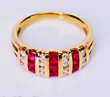 0.80 ct Princess Ruby Round Diamond 14K Yellow Gold Ring Band VTG