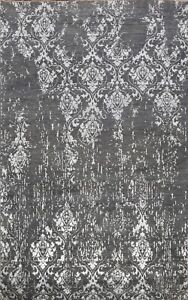 GRAY/ SILVER Versace Design Abstract Floral Area Rug Hand-knotted Wool/ Silk 6x9