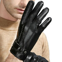 Men's Black Winter Touch Screen Driving Gloves Genuine Leather Fleece Lined New