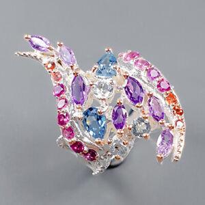 Vintage SET Blue Topaz Ring Silver 925 Sterling  Size 7.75 /R163651