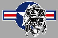 TETE DE MORT DRAPEAU USA USAF UNITED STATES BIKER RIDER 15cm STICKER MOTO SC018D