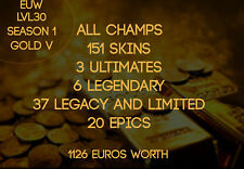 LEAGUE OF LEGENDS S1 ACCOUNT EUW LVL 30 FULL CHAMPS 151 skins (1126 euros worth)