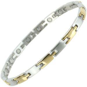 Ladies Slim Stainless Steel Magnetic Bracelet with Gold & Chrome Finish Elega