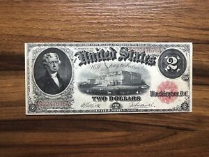 1917 Old Legal Tender Note $2 Dollar Currency- Red Seal - XF - Circulated