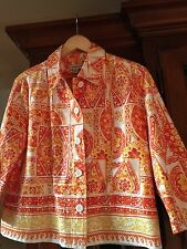 NWoT Coldwater Creek Petite Summer Orange/Yellow Lined Blazer/Jacket Size PL