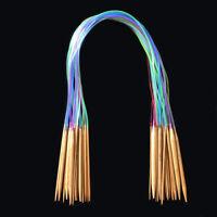 ALS_ 1 Set 18pcs Tube Circular Carbonized Bamboo Knitting Needles 40cm-120cm Pro