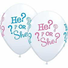 PACK 10 BABY SHOWER HE OR SHE ? LATEX BALLOONS GENDER REVEAL PARTY PINK & BLUE