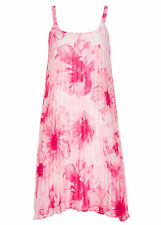 Pleated  pink floral lined Flowing summer dinner party dress size 20 NEW