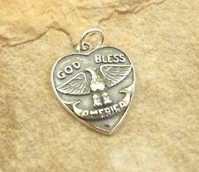 "Sterling Silver ""God Bless America"" Heart Charm -1106"