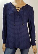 VINTAGE AMERICA BLUES PLUS sz 2X Navy SEMI SHEER Stripe Knit CROCHET TIE Top NWT
