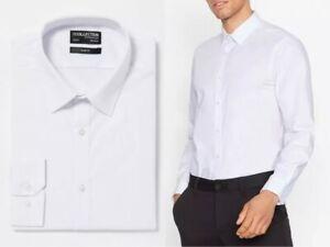 Debenhams Mens White Shirt Classic Plain Button Up Long Sleeve Shirt Formal 330
